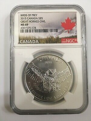 2015 1Oz Canada Great Horned Owl Ngc Ms69 Birds Of Prey Series Silver .9999 Coin