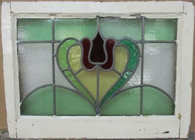 """MIDSIZE OLD ENGLISH LEADED STAINED GLASS WINDOW Abstract Heart 22.75"""" x 16.5"""""""