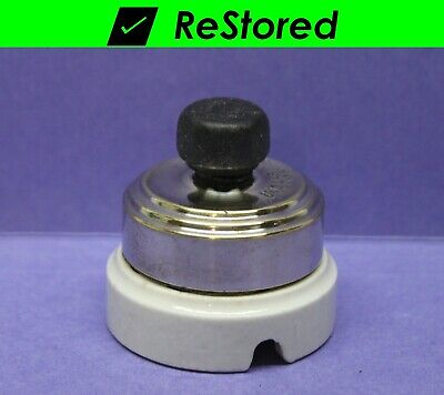 ⭐ Vintage Rotary Light Switch - Chrome/Porcelain Round Single-Pole Turn Perkins