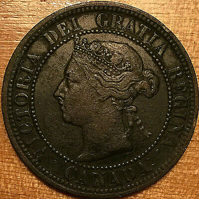 1882H CANADA LARGE CENT PENNY COIN - Obverse #2 variety