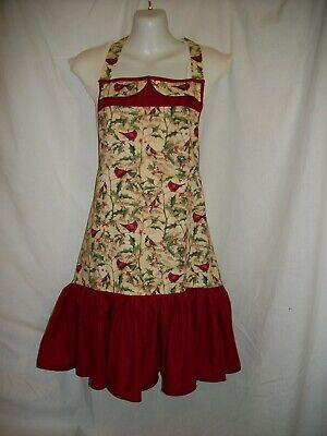Women Apron with Ruffle Pocket Floral Roses for Cooking Kitchen Chef X1E5