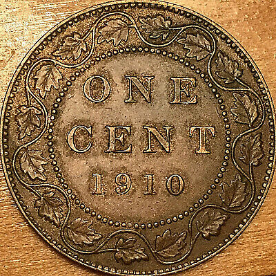 1910 CANADA LARGE CENT PENNY COIN - Excellent example!