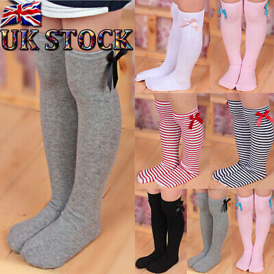 Baby Toddler Girl Knee High Long Striped Socks Soft Cotton Bow Tights Stockings❤