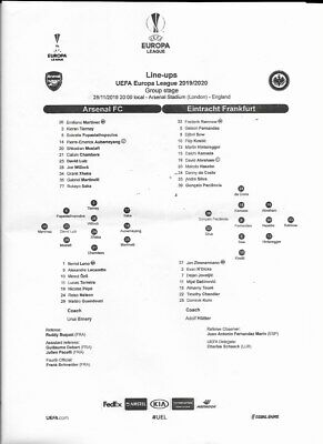 TEAMSHEET - ARSENAL v EINTRACHT FRANKFURT - EUROPA LEAGUE - 28 NOVEMBER 2019