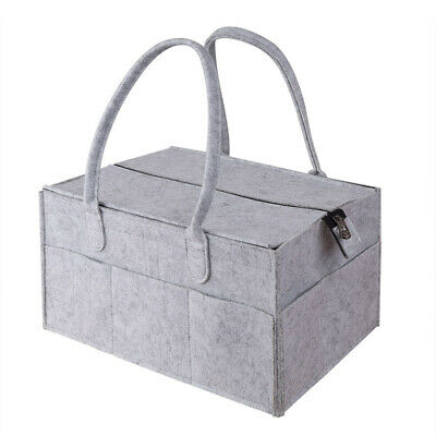 Felt Baby Diaper Caddy Nursery Storage Wipes Bag Nappy Organizer Container Grey
