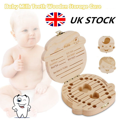 Baby Wooden Tooth Storage Box Kids Children Teeth Holder Keepsake Organizer Gift