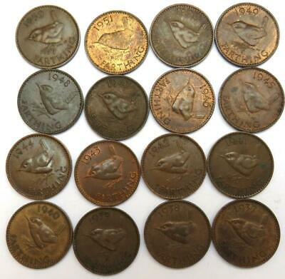 Complete Collection Of George VI Farthings 1937-1952,.