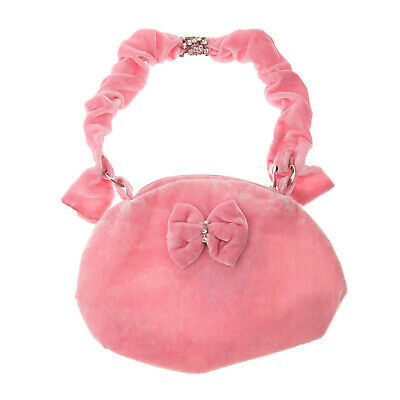 BLUMARINE BABY Velour Shoulder Bag Silk Blend Bow & Rhinestones Made in Italy