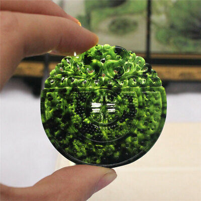 Chinese Natural Black Green Jade Carved Dragon Pendant Amulet Collectibles Gifts