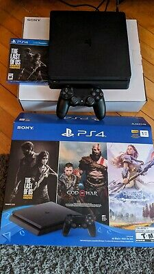 PS4 Slim 1TB Only On PlayStation Bundle With Receipt NEW 2019 Console 3 Games.