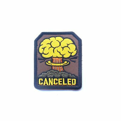 Atom Bomb Cancelled Funny Iron On Patch Mushroom Cloud Nuke Fallout Transfer 76