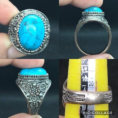 wonderful unique post medieval old turqouise stone ring