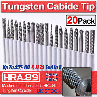 20x 3mm Tungsten Carbide Rotary Point Burr Die Grinder Shank Drill Bit Tool Set