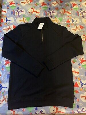 "Mens Navy Funnel Neck With Zip Sweater Size Med Nwt 38-40"" Chest Length 27.5"""