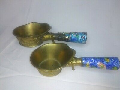 2 Antique 1900s Chinese Brass Measuring Cups w/ Enamel Decorative Handle