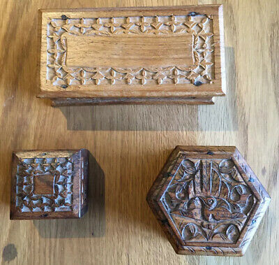 Three Vintage Wooden Treen Boxes Carved