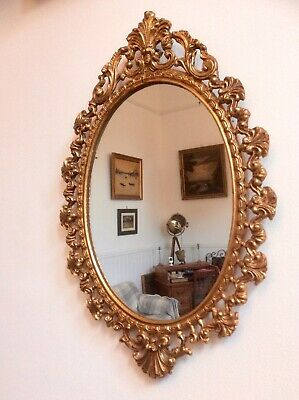 Vintage Brass Ornate Oval Wall Mirror,Gilded,Rococo,Baroque,Gold Metal,Retro,Old
