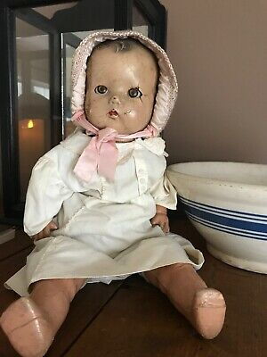 Pretty Bisque Large Baby Doll- Early- Vintage- Primitive- Antique- Decor 18""