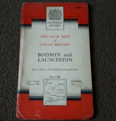 Vintage National Grid Ordnance Survey 1 Inch Map BODMIN & LAUNCESTON 1961 Paper