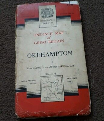 Vintage National Grid Ordnance Survey One Inch Map OKEHAMPTON 1960 Cloth