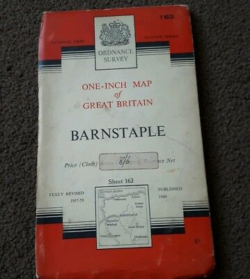 Vintage National Grid Ordnance Survey One Inch Map BARNSTAPLE 1960 Cloth
