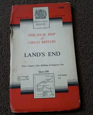 Vintage National Grid Ordnance Survey One Inch Map LANDS END 1961 paper
