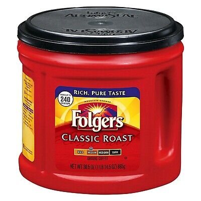 Folgers Classic Roast 240 Cup Ground Coffee 865GM Best Before 01/May/2020