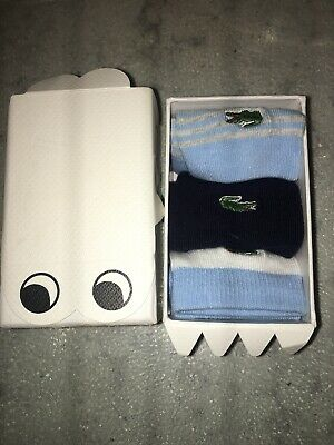 Baby Boy Lacoste Blue Cotton Socks Age 0-6 Months New Lacoste Boxed Three Pair