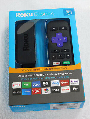 Roku Express HD Easy High Definition Streaming Media Player NEW HDMI Cable