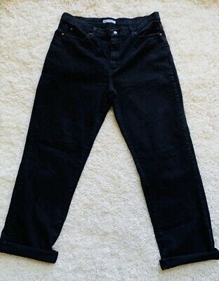 Lee Womens Mom Jeans Relaxed Fit Waist Jet Black Size 16 Long