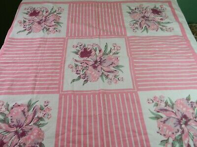 Vintage Cotton Linen Tablecloth Pink Iris and stripes Floral Easter 45x50