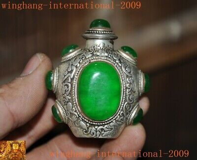 Chinese palace dynasty Tibetan silver inlay green gem Dragon statue snuff bottle