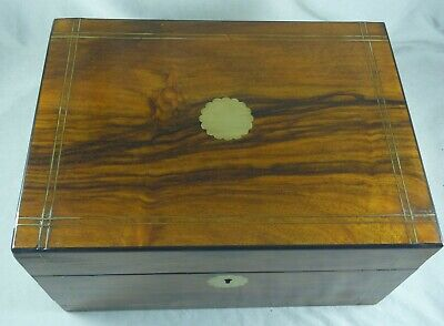 Wonderful Antique Estate Timber And Brass Inlay Jewellery/ Sewing Box C 1910