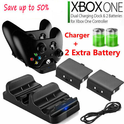 XBOX ONE Dual Charging Dock Station Controller Charger+2x Rechargeable Battery