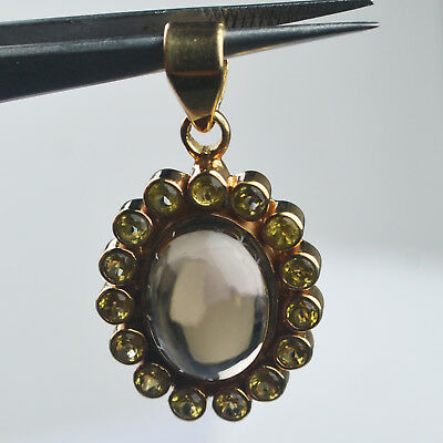 Smoky Quartz & Citrine gemstone Pendant 8.14 g Sterling Silver 925