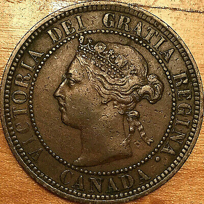 1886 CANADA LARGE 1 CENT PENNY LARGE 1 CENT COIN - Obverse #2 variety