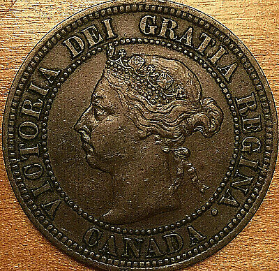 1891 CANADA LARGE 1 CENT PENNY LARGE 1 CENT COIN - SDSL Obverse #3 variety
