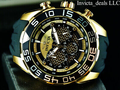 Invicta Men's 50mm Speedway TWISTED METAL Chronograph 18K Gold Plated SS Watch