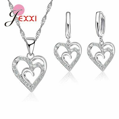 925 Sterling Silver CZ Crystal Double Heart Pendant Necklace And Earring Set UK*