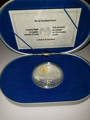CANADA $20 1991 Proof Silver with Gold Cameo De Havilland Beaver Powered Flight