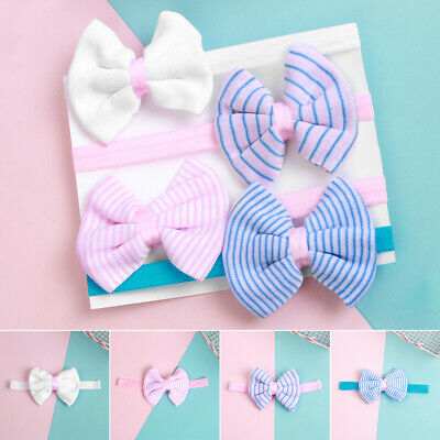 Kids Baby Toddler Striped Headband Cotton Stretch Turban Girls Bow Hairband