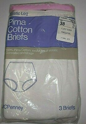 Vtg JC Penney White Panties Sissy Package of 3 100% Cotton Briefs NIP Size 6