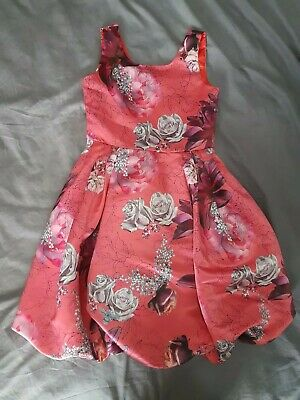 Girls Red Age 10 Years Angel And Rocket Dress Floral roses prom party 9