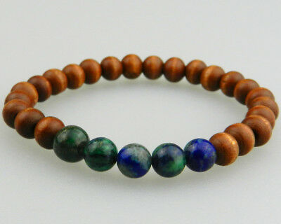 New Ball Bracelet with Azurite Malachite & Boxwood from Shaolin Monks Blessed