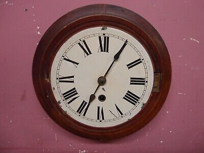 SMALL ANTIQUE PENDULUM WALL DIAL CLOCK 8 DAY MOVEMENT PROJECT NO BEZEL or PEND