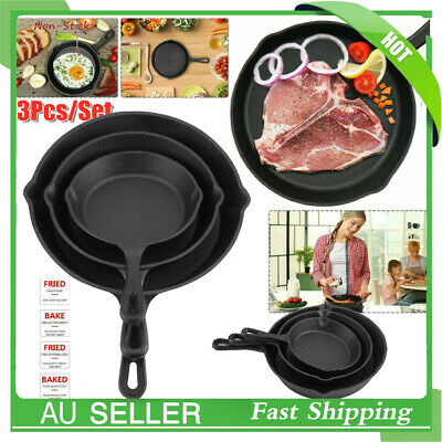 3pcs/Set CAST IRON Non-Stick Frying Griddle Pan Barbecue Grill Fry BBQ Skillet
