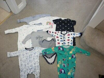 Bundle Of Baby Boy/Girl Sleepsuits/All In One/Babygrow, X 9,Newborn Up To 18Mths