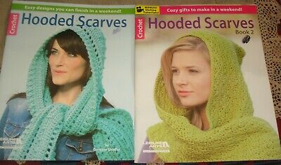 2 Crochet Pattern Books HOODED SCARVES 13 Designs Leisure Arts