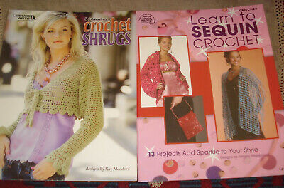 2 Crochet Pattern Books SHRUGS & LEARN SEQUIN CROCHET 17 Projects