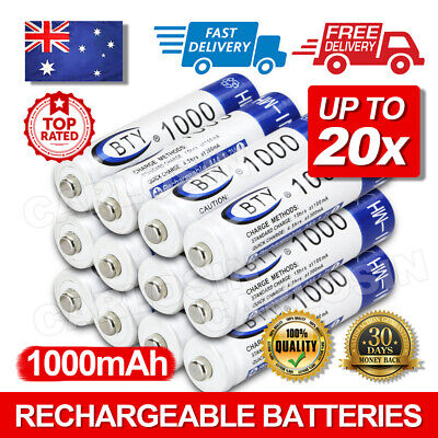 NEW 4-20X BTY AAA Rechargeable Battery Recharge Batteries 1.2V 1000mAh Ni-MH AU